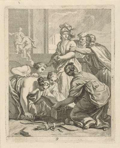 Achilles en de dochters van Lycomedes; Scènes uit het leven van Achilles; Vitam et mortem achilli