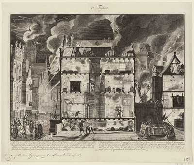 Oude brandspuiten en nieuwe slangbrandspuiten in de praktijk, 1690; Uytbeelding vant verschil der bequaamheden, van d'Oude en Nieuwe Brandspuiten, ten gebruik van brand blussen (...)