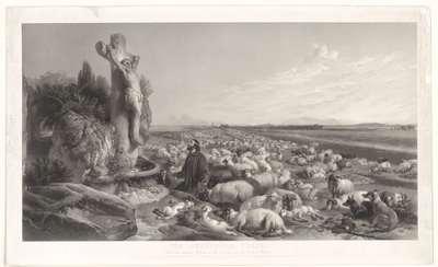 """The shepherd's prayer"". Naar Sir Edwin Landseer, met adressen van ranes en Knoedler"