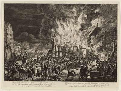 Brand in de lijnbanen van de Admiraliteit, 1673; Brand van d' Admiraliteits oude Lijnbanen, en bijstaande gebouwen (…) voorgevallen den 12 januarij 1673 / Feu qui se prit le 12 janvier 1673, aux vielles Corderies de l'...