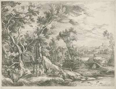 Landschap met Abraham die de drie engelen smeekt Sodom te sparen