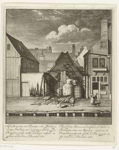 Ruïne van een half afgebrande terpentijnoliebranderij op de Passeerdersgracht, 1683; Afbeelding van een terpentijn-olie-brandery, en zijn pakhuijs met terpentyn beleidt, op de Passeerders graft, welke brandery ontstak, en...