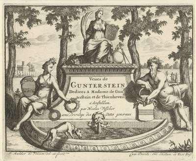 Allegorische figuren met wapenschilden op een fontein; Gezichten op Gunterstein; Veues de Gunterstein dediees a madame de Gunterstein et de Thienhoven