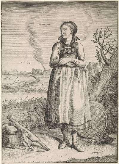 Boerin uit Edam; Klederdracht en omgeving van Nederlandse edelvrouwen en boerinnen; Habitus et cultus Matronarum Nobilu et Rusticarum apud Batauos