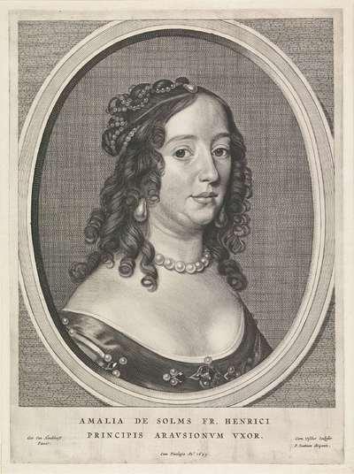 Portret van Amalia van Solms; Fredericus Henricus Illustrissimus Orangiae Princeps
