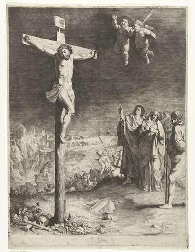 Christus aan het kruis met treurende Maria en Johannes