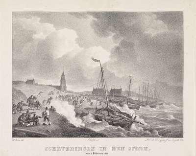 Storm te Scheveningen, 1825; Scheveningen in den storm, van 4 February 1825
