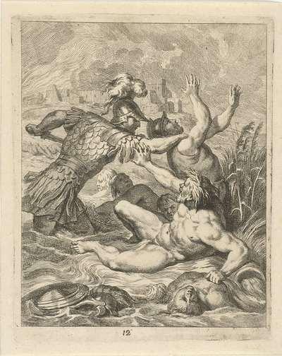 Achilles vecht met riviergod Scamander; Scènes uit het leven van Achilles; Vitam et mortem achilli