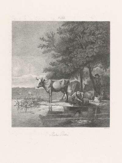 Landschap met koeien en twee figuren