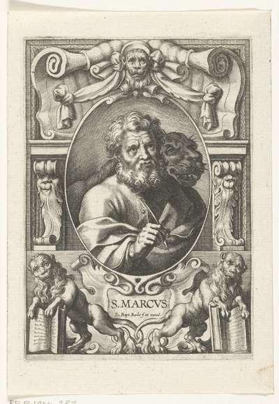Evangelist Marcus met leeuw in omlijsting met architectuur ornamenten; S. Marcvs; SS. Apostolorum et Evangelistorum Icones