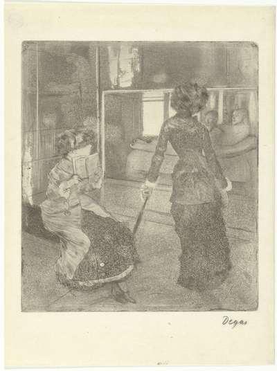 Mary Cassatt in het Louvre bij de gallerij met Etruskische kunst; Au Louvre: Musée des Antiques