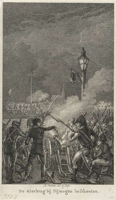 Fransen beschieten de vluchtende troepen op de Gierbrug, 1794; De Gierbrug bij Nijmegen beschooten