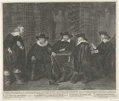 De vier Amsterdamse burgemeesters wachtend op het bericht van de aankomst van Maria de Médicis, 1638