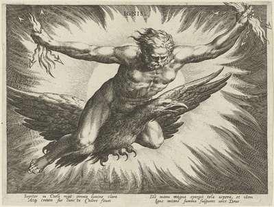 Vuur gepersonifieerd door de god Jupiter; Ignis; De vier elementen als mythologische figuren
