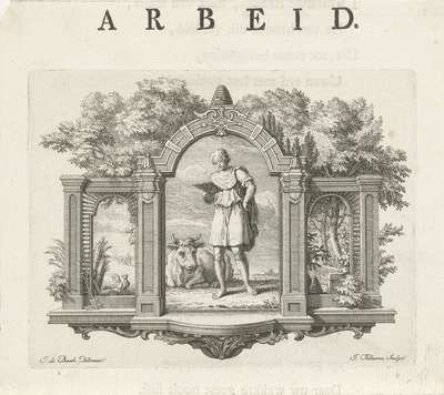 Vignet met de personificatie van Arbeid; Arbeid; Deugden en ondeugden