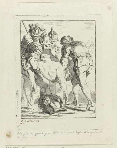 Ontklede soldaat wordt weggedragen door vier andere soldaten; Soldaten
