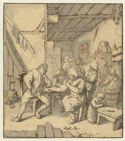 Interieur van een boerenherberg met rokende en drinkende figuren
