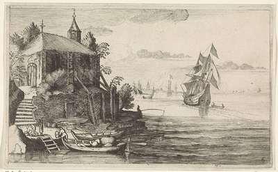 Tweemaster bij een kust met een kapel; Zeegezichten