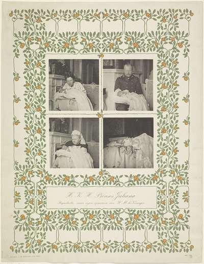 Portretten van Emma, koningin-regentes der Nederlanden, Wilhelmina, koningin der Nederlanden, Hendrik van Mecklenburg-Schwerin en Juliana, koningin der Nederlanden