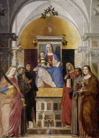 Madonna and Child with Sts Catherine, Francis of Assisi, John the Baptist, John the Evangelist, Antony of Padua and Mary Magdalene | Fogolino, Marcello