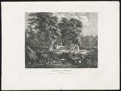 Damon (Demophon) en Phillis (Phyllis); Tableaux en gouache...de Salomon Gessner, gravées a l'eau forte par W. Kolbe. Premier Cahier