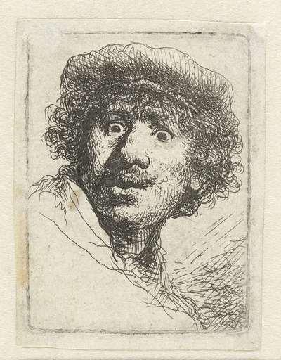 Image from object titled Zelfportret met baret en opengesperde ogen