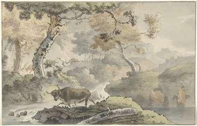 Boslandschap met stier