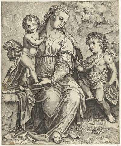 Maria met Christus en Johannes de Doper als kind