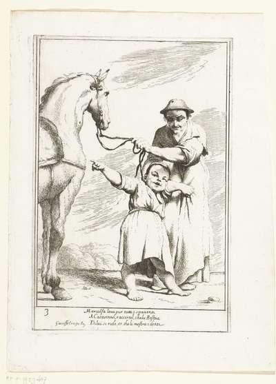 Marcolfa toont aan Cacasseno een lachend paard; Historie van Bertoldo, Bertoldino en Cacasenno