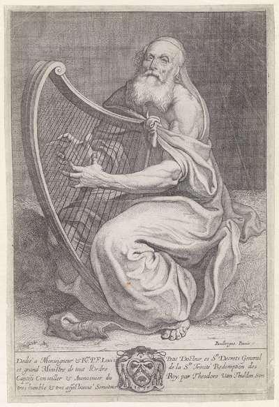 David bespeelt de harp