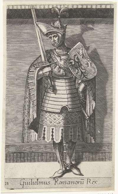 Portret van Willem II, graaf van Holland; Guilielmus Romanoru Rex; Graven en gravinnen van Holland en Zeeland; Principes Hollandiae et Zelandiae