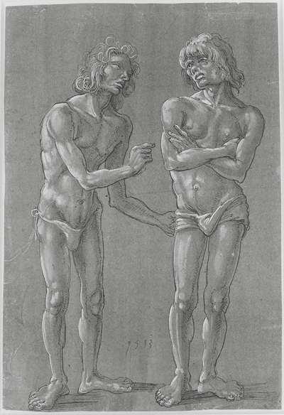 Twee naakte jongelingen, naast elkaar staand