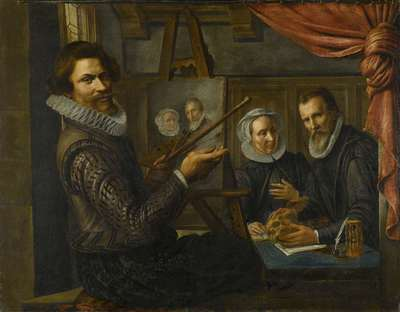 Image from object titled The Painter in his Studio Painting the Portrait of a Married Couple