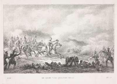 Prins van Oranje leidt de Nederlandse troepen bij Quatre-Bras, 1815; De held van Quatre-Bras