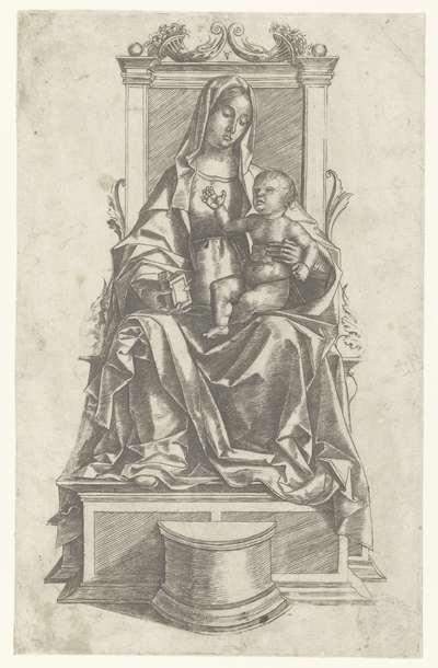 Maria met kind zittend op een troon