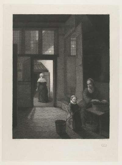 Binnenhuis met een kolf spelend meisje en haar moeder