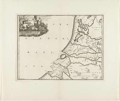 Historische kaart van Nederland met de gebieden van de Bataven en Friezen; Descriptio Frisiae Haereditariae inter Scaldim et Kinnemum sub Carolinis