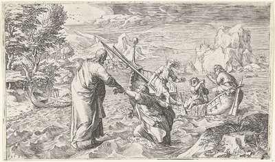 Christus loopt over het water en redt Petrus
