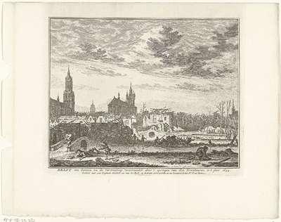 Image from object titled Delft na het ontploffen van de kruittoren, 1654; Delft van binnen na de verwoesting, veroorzaakt door 't springen van den Kruidtooren, in 't jaar 1654