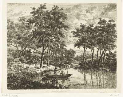 Landschap met twee hengelende vissers in een boot op een vijver