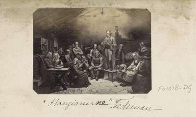 """Fotoreproductie van (vermoedelijk) een prent naar een schilderij van Adolph Tidemand; """"Haugianerne"""" Tiedeman"""