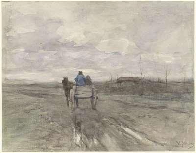Image from object titled Boerenkar op een landweg