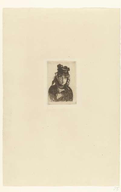 Portret van kunstenares Berthe Morisot met hoed