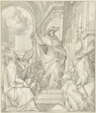 Kardinaal sprekend tot een groep bisschoppen