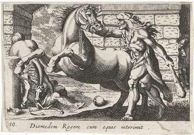 Hercules temt de paarden van Diomedes; Diomedem Regem cum equis; Herculische thema's