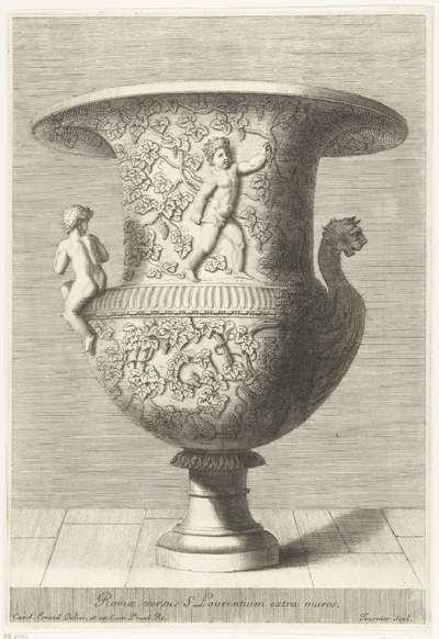 Vaas bedekt met wijnranken; Romae versus S Laurentium extra muros; Recueil de divers vases antiques