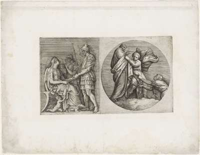 Romeinse soldaat begroet Romeinse dame / Allegorie: een jongen klampt zich vast aan een oude man, terwijl een vrouw aan zijn gewaad trekt