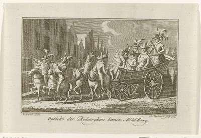 Optocht van Rederijkers te Middelburg, ca. 1785-1786; Optocht der Redenrykers binnen Middelburg