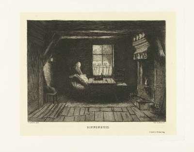 Boerenvrouw zit bij een raam te naaien in interieur; Binnenhuis
