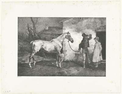 Man met een paard bij een herberg; Vieux cheval a la porte d'une auberge; Verschillende studies van paarden; Etudes de chevaux